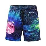 3D Star Printed Herren Strand Shorts Hosen Arbeiten Sie beiläufige Männer kurze Pants GreatestPAK,Blau,XXL
