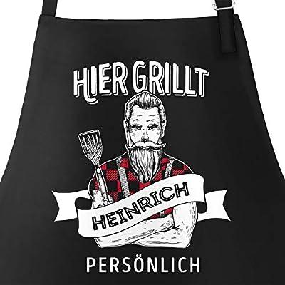 MoonWorks® Grill-Schürze für Männer mit Spruch personalisierbar Hier grillt eigener Name persönlich Grillen Geschenk Baumwoll-Schürze Küchenschürze