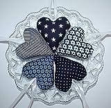 Herzen aus Stoff, Stoffherzen, Handmade, DUNKELBLAU, 5 Stück, Tilda