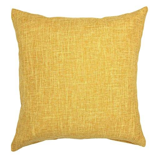 Anshang Solid Color Decorative Cotton Linen Throw Kissen-Gehäuse-Kissen für Couch Sofa Bed,22 x 22 Zoll, Dunkelgelb