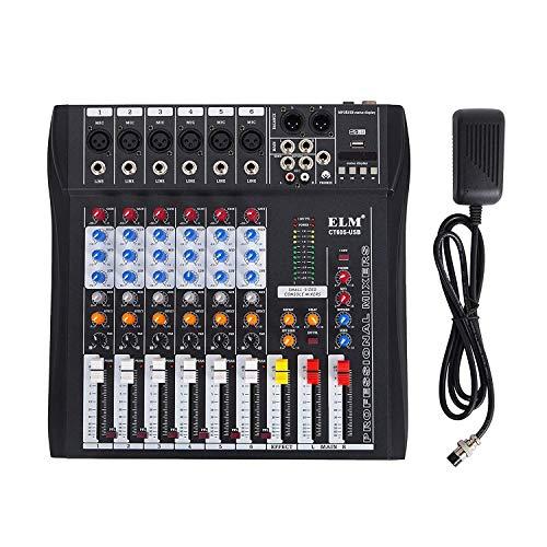 Electz 6-Kanal-Audiomixer mit 48 V Phantomspeisung Mischpult USB-MP3-Audiomixer für die Aufnahme von DJ-Bühnen-Karaoke-Musik