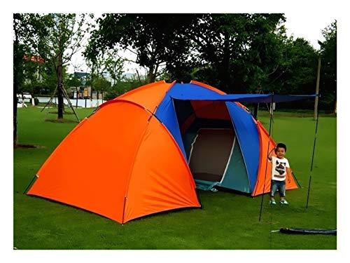 Xyzlove 5-8 Person Big Camping-Zelt Wasserdichtes Double Layer Zwei Schlafzimmer Spielraum-Zelt for Family Party Travel Angeln 420x220x175cm (Color : Orange)