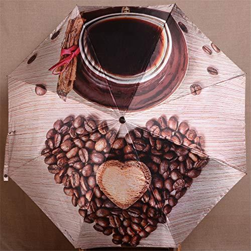 FOOFLH Satin Stoff Kaffee Lippen Muster Leder Griff Mode Taschenschirm VollautomatischeFrauen Mann Sonnenschirm Qualität -