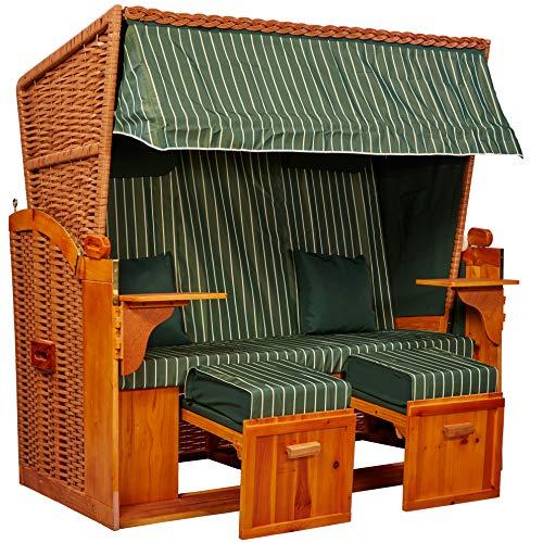 intergrill Strandschönheiten Gina Ostsee XXL Strandkorb 2-Sitzer Vollholzfront Verschiedene Dekor innen außen für Balkone Terrassen Wintergärten Garten Lounge KD4BBX