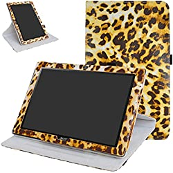 "Acer Iconia One 10 B3-A40 Rotating Coque,Mama Mouth 360 Degree Rotating PU Cuir debout Fonction Housse Coque Étui Couverture pour 10.1"" Acer Iconia One 10 B3-A40 Android Tablet,Leopard Marron"