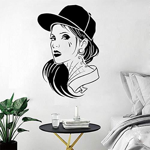 xingbuxin Salone di Bellezza Adesivo murale Ragazza Tatuaggio Capelli Moda Hip-Hop Decorazione della Stanza Vinile Design Rimovibile Design Poster Decorazione murale Nero 42X63CM