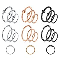 "‏‪QWALIT 20g Nose Rings Hoops Septum Ring Moon Shape Stainless Steel Small Fake Nose Hoop Tragus Cartilage Helix Earrings Hoop Lip Piercing Jewelry Captive Bead Ring 5/16"" 3/8"" 1/2"" 8mm 10mm 12mm‬‏"