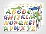 GRAZDesign 411008_4 Fenstersticker ABC Alphabet | Fensterbild für Kinderzimmer | Glasdekor | Geschenk zur Einschulung (DIN A4 (4Stück))