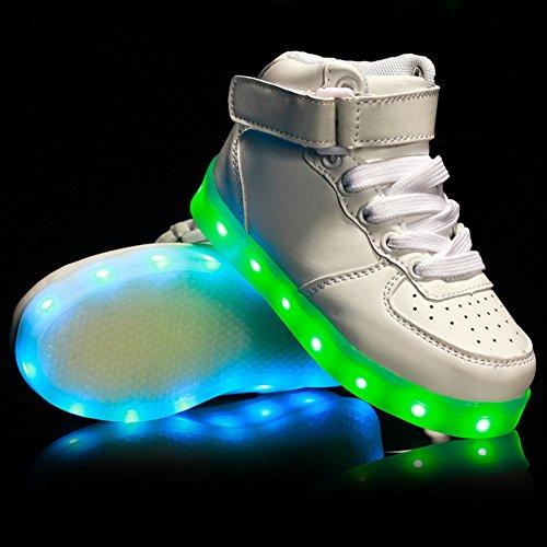 Fortuning's JDS LED Lumineux Haut de page Chaussures Éclairé Sneakers unisexe Enfants USB facturer Clignotant Formateurs Blanc