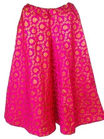 FEMEZONE Brocadesilk Ethnic Traditional Lehenga/Skirt for Party/Festival function,pink