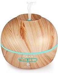 Diffuseur d'huile essentielle 300ml en grain de bois Humidificateur Ultrasonique à Brume Fraîche Réglable incluant 7 Couleurs LED , , et 4 réglage de minuterie Arrêt automatique sans eau