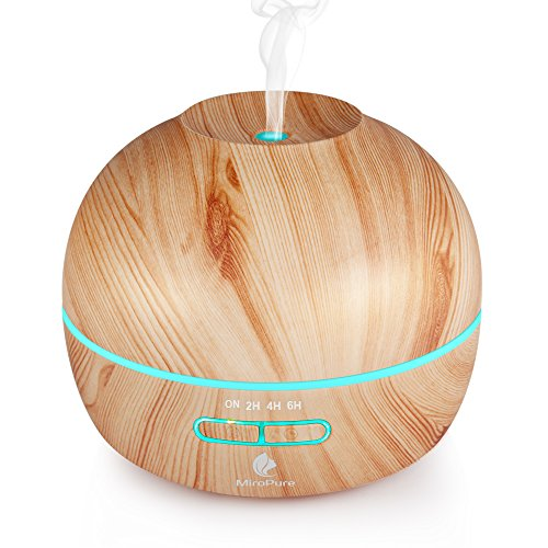 Essential-Oil-Diffuser-Electric-Aromatherapy-Wood-Grain-Diffuser-300MLTwo-Mist-Mode-Ultrasonic-Humidifier-Cool-Mist-Diffusers-4-Timer-Settings7-Color-LED-Lights