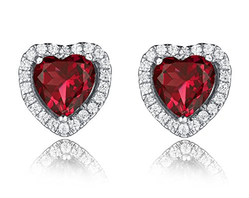 Aurora lacrime Vintage a forma di cuore Strass Orecchini per le donne, argento, colore: Red, cod. A-DE0002R