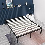 ONEMO 16 بوصة إطار سرير معدني مزود بشرائح خشبية صلبة لدعم 300 كجم