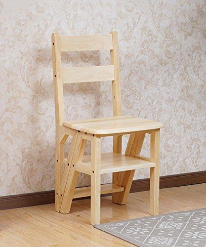 LIXIONG Chaise en Bois Massif Echelle Escalier Pliant Chaise Ménage Multifonctionnel Tabouret à Double Usage tabourets de bibliothèque (Couleur : 1#)