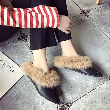 SHOESHAOGE Chaussures Pour Femmes Pu Automne Hiver Appartements Confort Talon Plat Chaussures Pour Les Tenues Kakis Rouge Noir Black