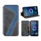 MOBESV Smiley HTC Desire 12 Hülle Leder, HTC Desire 12 Tasche Lederhülle/Wallet Case/Ledertasche Handyhülle/Schutzhülle mit Kartenfach für HTC Desire 12, Schwarz/Dunkel Blau