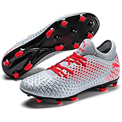 Puma Future 4.4 Fg/ag Botas de fútbol Hombre, Gris (Glacial Blue-Nrgy Red-High Risk Red 01), 40.5 EU
