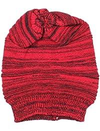 Belleza superior Unisex Hombre De Punto Baggy Beanie Beret Invierno Cálido Gorro de esquí de gran tamaño, rojo