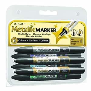 Letraset 01845 Set de 6 Métallique marqueurs Couleurs Assorties
