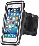 MOVOJA Sport-Fitness-Jogging-Armband Schwarz Hülle Case für Smartphone Handy Neopren Oberarmtasche | mit Kopfhöhreranschluss geeignet für iPhone 6, iPhone 6s.