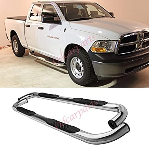 VioGi Fit:09-14 Dodge Ram 1500 Quad/Extended Cab (w/ 2 Smaller Size Rear Doors) 3 S/S Side Step Rails Nerf Bar Running Boards by VioGi