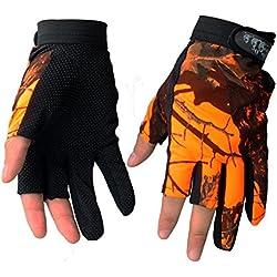 isafish pesca guantes de caza camuflaje color guantes sin dedos transpirable antideslizante impermeable guantes al aire libre guantes de protección contra el sol, Orange peel 02