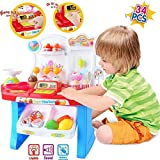 Supermarket Shop 34 Pcs Pretend Play Toys Set With Sound Effects, Multi-Color