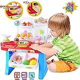 #3: Supermarket Shop 34 Pcs Pretend Play Toys Set with Sound Effects, Multi-Color