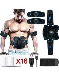 Hieha Electrostimulateur Musculaire【2019 Dernière Version】, EMS 8 Ceinture Abdominale Electrostimulation/Bras/Cuisse Muscle Forme d'exercice Fitness pour Homme Femme