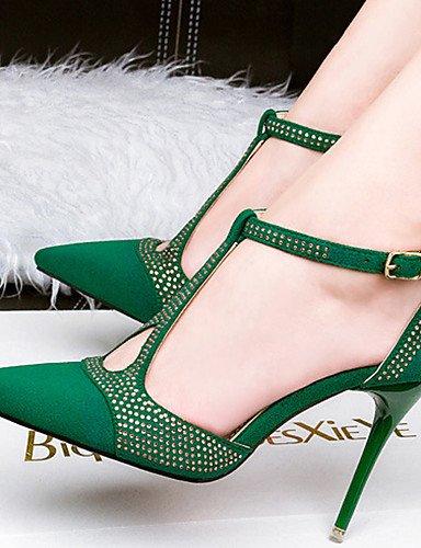 WSS 2016 Chaussures Femme-Décontracté-Noir / Vert / Rouge / Gris / Peau-Talon Aiguille-Talons-Talons-Velours black-us6 / eu36 / uk4 / cn36