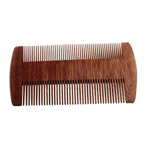 Baoblaze Peigne de Poche en Bois à Démêlage de Cheveux de Barbe de Moustache - Cadeau pour Homme - Double Bord