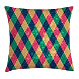 WCMBY Plaid Throw Pillow Cushion Cover, Colorful Rhombus Pattern with Continuous Diamond Modules on Grungy Background Print, Decorative Square Accent Pillow Case, 18 X 18 Inches, Multicolor