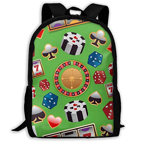 Colorful Casino Unisex Adult Unique Rucksack,School Leisure Sports Book Bags,Durable Oxford Outdoor College Laptop Computer Shoulder Bags,Lightweight Travel Tagesrucksäcke