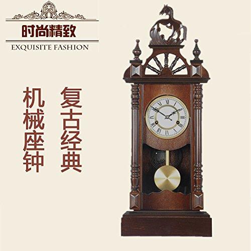 Y-Hui Polaris massiv Messing Pferdekopf Maschine Base Clock Wecker aus Holz auf den Lebendigen Room-Pan Feng Shui Jin Taek Antike Uhren, 8 Zoll, die römische Ziffer Zifferblatt