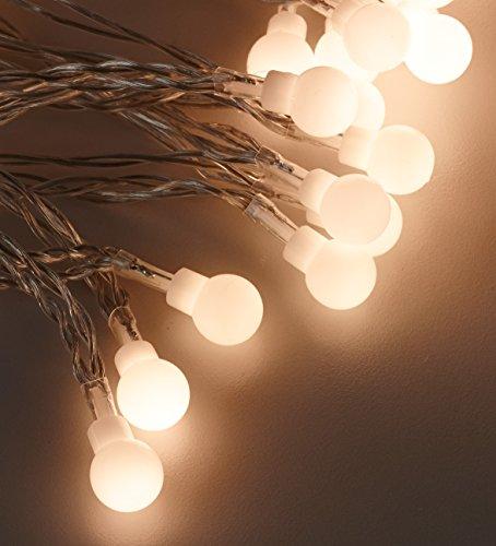 [in.tec] Ghirlanda luminosa con 80 luci LED 11m bianco caldo Per interni e esterno Catena di sfere luminose Decorazione natalizia Illuminazione