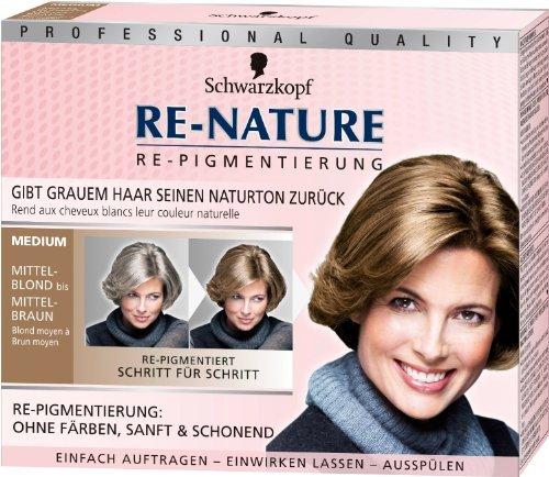 3 x Re-Nature von Schwarzkopf/ Medium/ ohne Färben, sanft & schonend/gibt grauen Haaren den Naturton zurück/für Mittel-Blondes bis Mittel-Braunes Haar