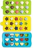 3/Set Candy Formen Eiswürfelformen Herzen Sterne Muscheln Silikon Schokolade Formen
