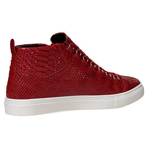 Herren High Top Sneaker G7 Snake Skin Schuhe Fashion Schwarz Rot Blau Weiß 40-44 Rot/Weiß