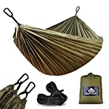NatureFun Ultra-Light Travel Camping Hammock | 300kg Load Capacity,(275 x 140 cm) Breathable,Quick-drying Parachute Nylon | 2 x Premium Carabiners,2 x Nylon Slings Included | For Outdoor Indoor Garden
