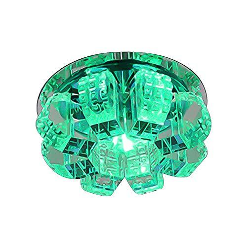 Modern Kristall Flur Deckenleuchte, LED 5W 4,7 Zoll Farbe Glas in der Nähe der Decke Mini Indoor Dekoration Leuchten für Restaurant-Bunte 12cm (Color : Green, Size : 12cm(5in)) -