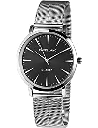Reloj De Pulsera Analógico De Cuarzo Acero inoxidable Reloj Plata Elegante y moderno atemporal