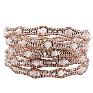 KELITCH Bordüren Weiß Achat Facettiert Perlen Charme Leder Wickelarmband Armband Freundschaftsarmbänder
