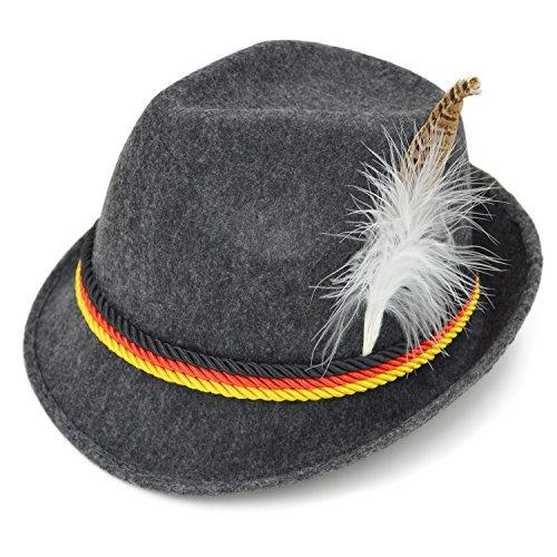 Melesh Herren erwachsene felt schweizerdeutsch alpine bayerisches oktoberfest-hut-kappe Grau Large (Men's Alpine Kostüm)