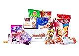 Snackfox Box 2kg - eine Naschbox als Geschenk oder als deine Snackbox mit vielen süßen Überraschungen aus Schokolade, Keks, Gummibären und Knabbereien