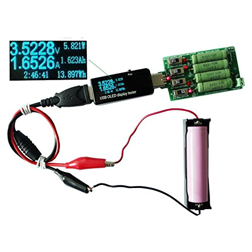 Tutoy Oled Display Usb Tester Dc Voltmeter Amperemeter 18650 Kapazitätsmessgerät Mit Elektronischer Last + Entladungswiderstand Krokodilklemme Krokodildraht