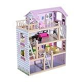 HomCom Casa delle Bambole a più Piani in Legno con Accessori,...