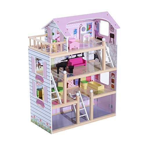HomCom Casa delle Bambole a più Piani in Legno con Accessori, Rosa, 60x30x80cm