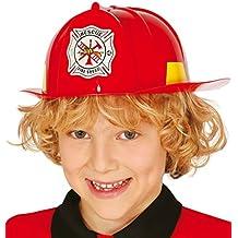 Guirca - Casco de bombero para niños, color rojo (13366)
