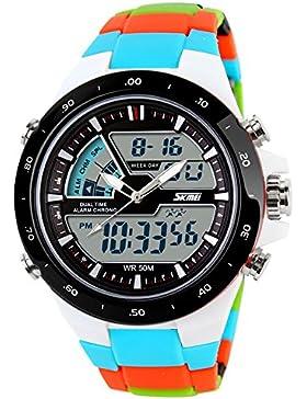 große Männer zwei Zeitzonen-Uhr Analog-Digital-Quarz-Sport einzigartigen Multifunktions-Uhr blau datum